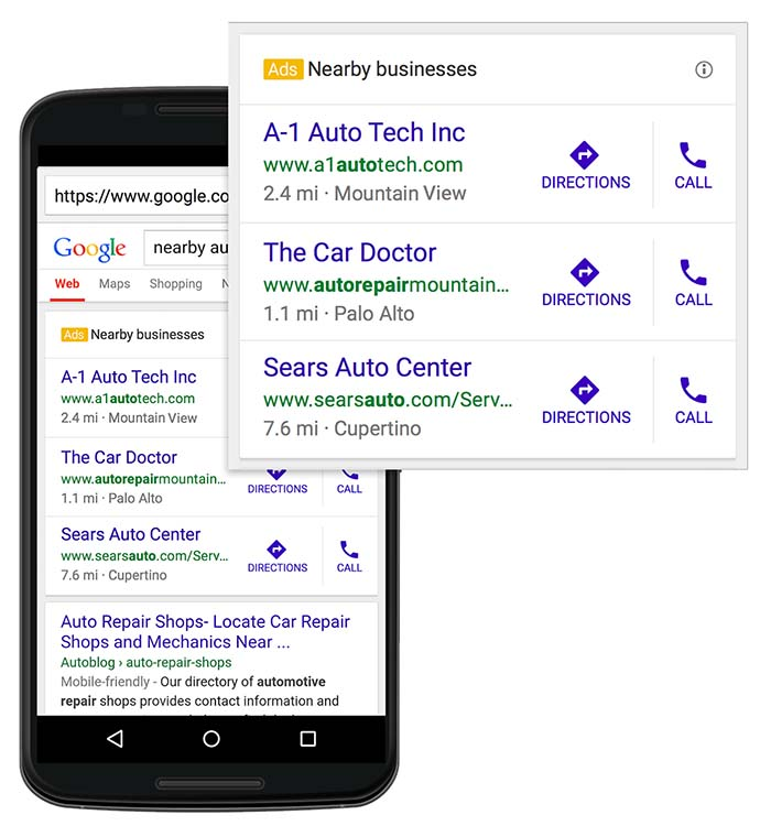 Google AdWords Nearby Businesses